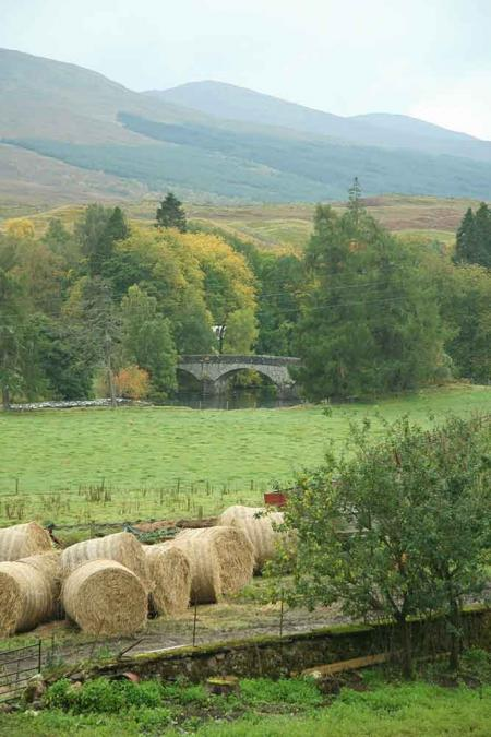 Bridge with Hay Bales