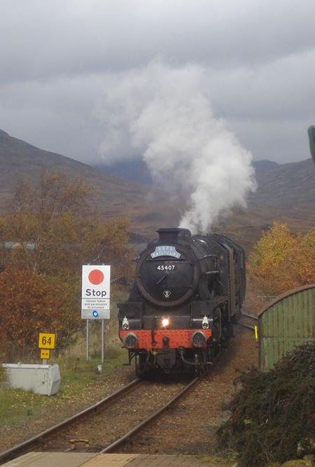 Hogwarts Express arriving at Rannoch Station
